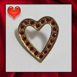 Vintage Ruby Red Rhinestone Heart Lapel Pin